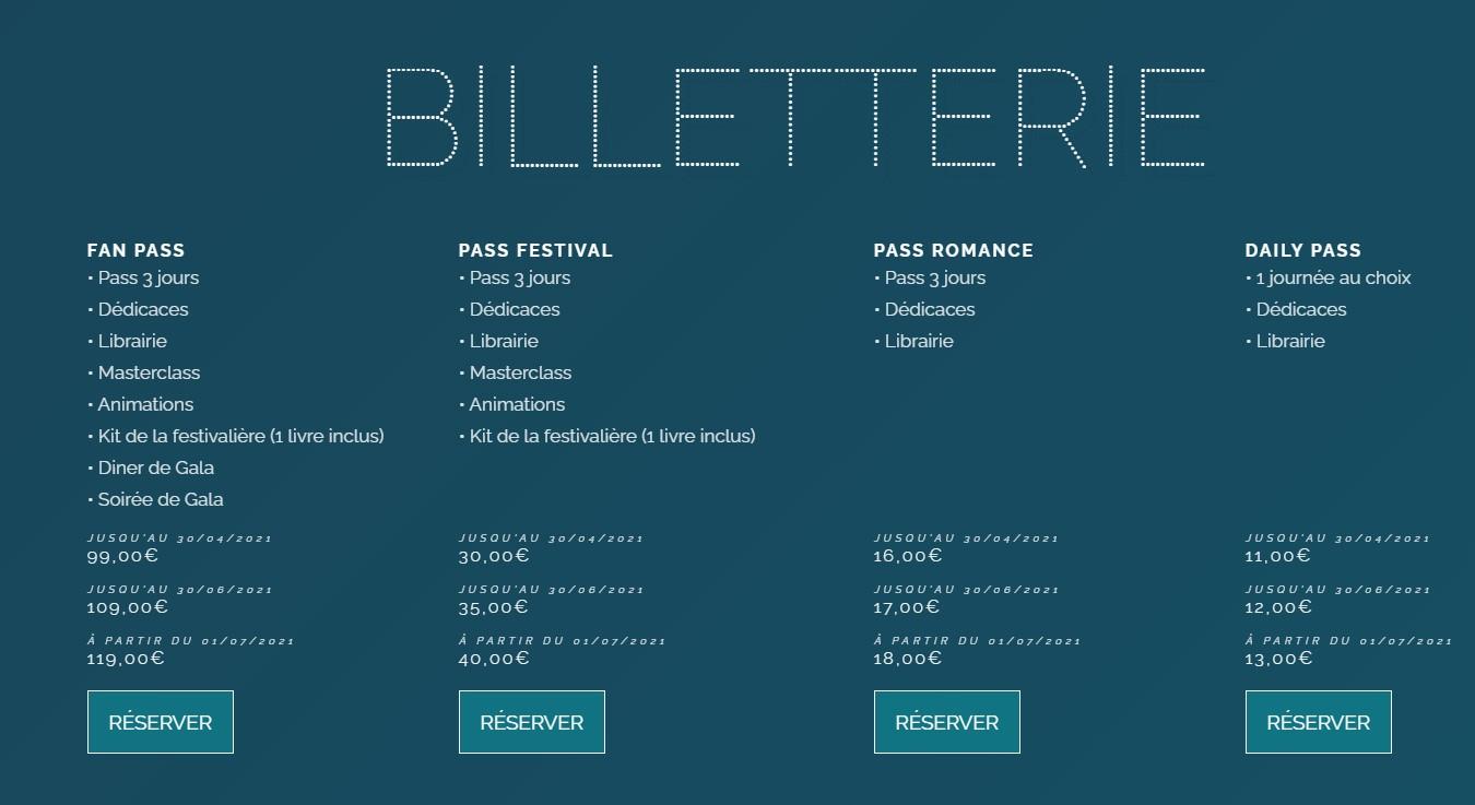 billetterie festival new romance 2021
